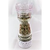 ''Sel fou''  Ail & Persil © au gros sel de source 100% naturel de Salies de Béarn , moulin en verre, 85 gr.