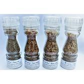 """Pack de 4 """"sels fou"""" spécial poivres au gros sel de source 100% naturel de Salies de Béarn, moulin en verre, 85 gr."""