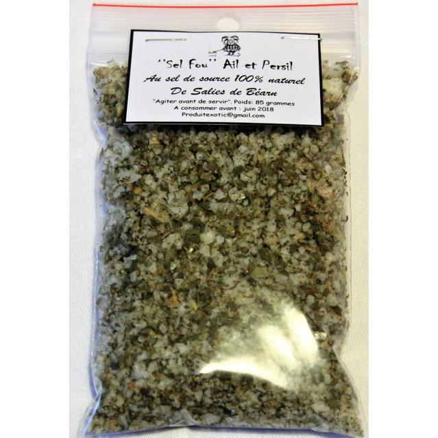 ''Sel fou''  Ail & Persil © au gros sel de source 100% naturel de Salies de Béarn , recharge 85 gr.