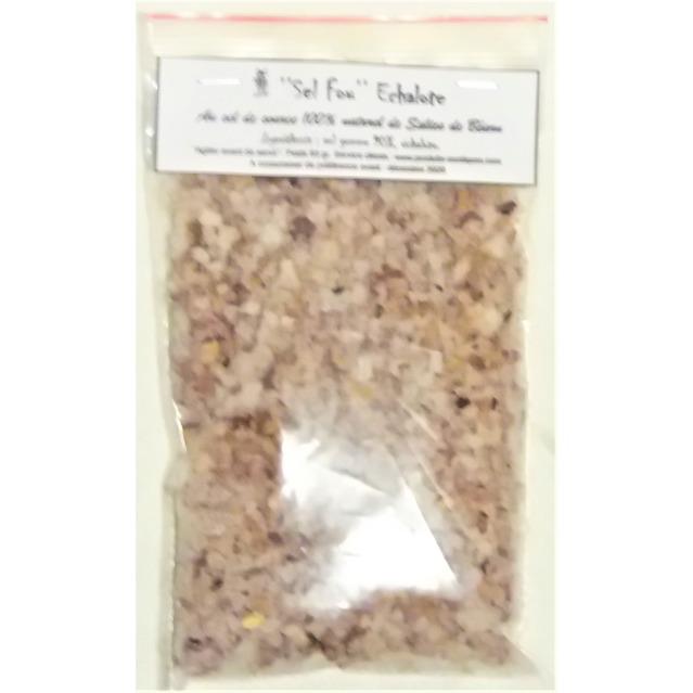 ''Sel fou''  Echalote © au gros sel de source 100% naturel de Salies de Béarn , recharge, 85 gr.