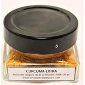 Curcuma Extra de la Réunion, safran jaune, qualité extra de la Plaine des Gregs,  pot en verre 25 grammes.