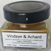 Vindaye et achard, Mélange d'épices moulu, 50 gr dans pot en verre.