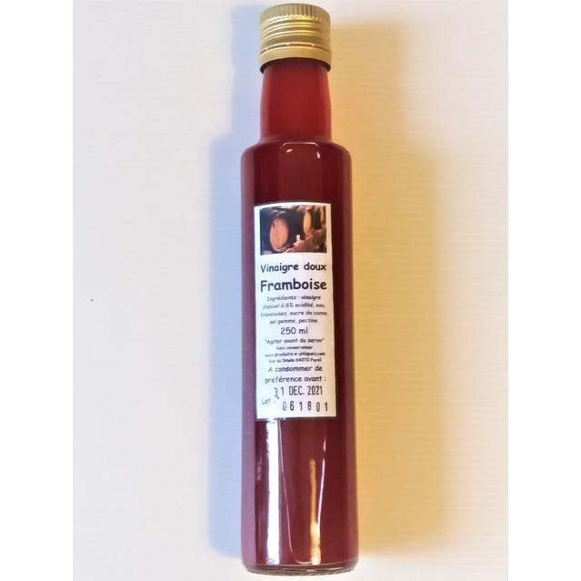 Vinaigre doux à la framboise fraîche, bouteille en verre 250 ml