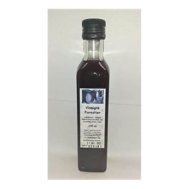 Vinaigre Forestier aux bolets et cèpes, bouteille en verre 250 ml