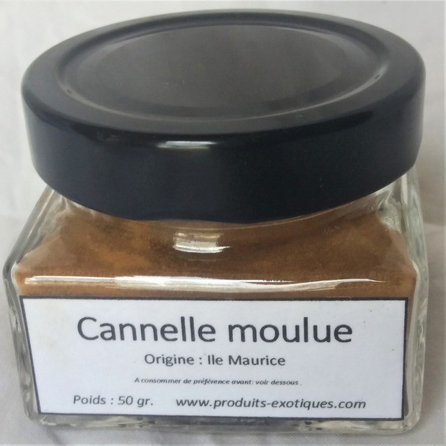 Cannelle moulue 100 % naturelle, image du pot en verre en 50 gr.