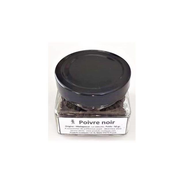 Poivre noir de Madagascar en grain dans pot en verre 50 grammes..