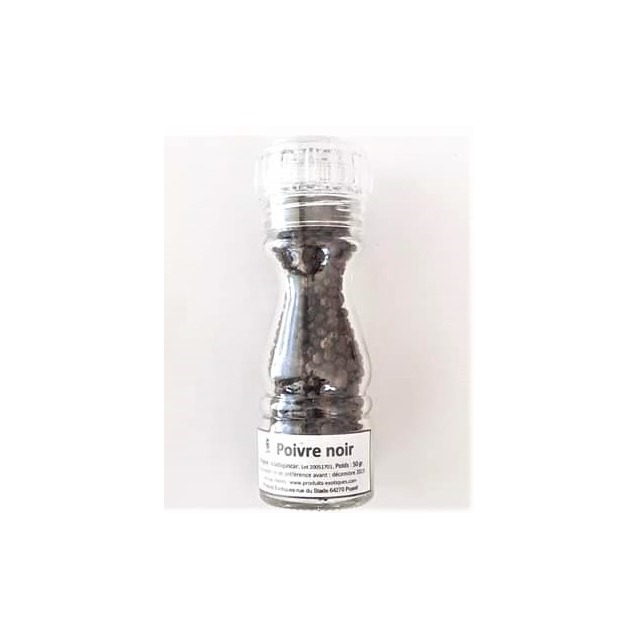 Poivre noir de Madagascar en grain dans moulin rechargeable en verre, poids 50 gr.