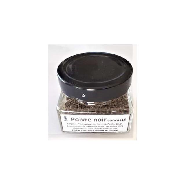 Poivre noir de Madagascar en grain concassé, pot en verre carré de 65 grammes