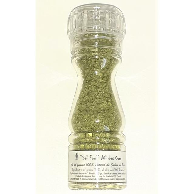 ''Sel fou'' à l'ail des ours © au gros sel de source 100% naturel , moulin en verre rechargeable 85 gr.