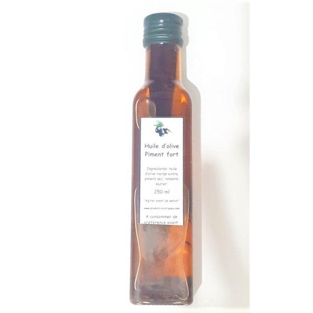 Huile d'olive au piment fort, bouteille en verre 250 ml