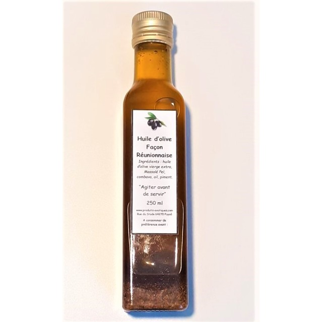 Huile d'olive façon Réunionnaise pour marinade et cuisson, bouteille en verre 250 ml