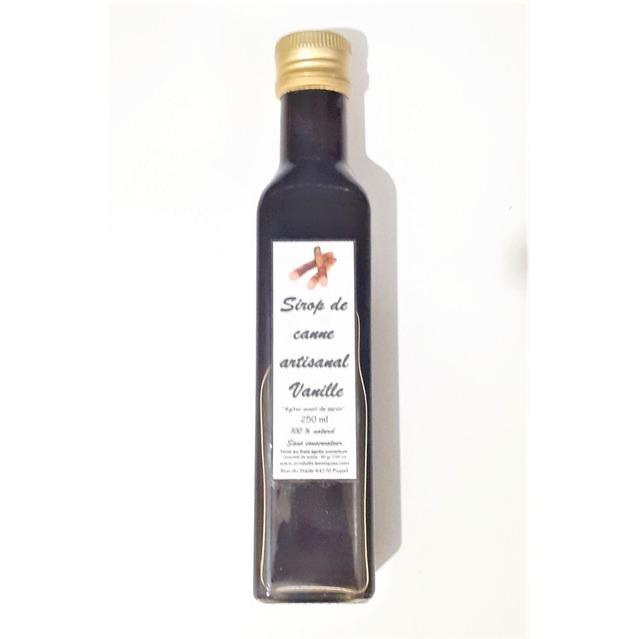 Sirop de canne à la vanille dans bouteille en verre 250 ml