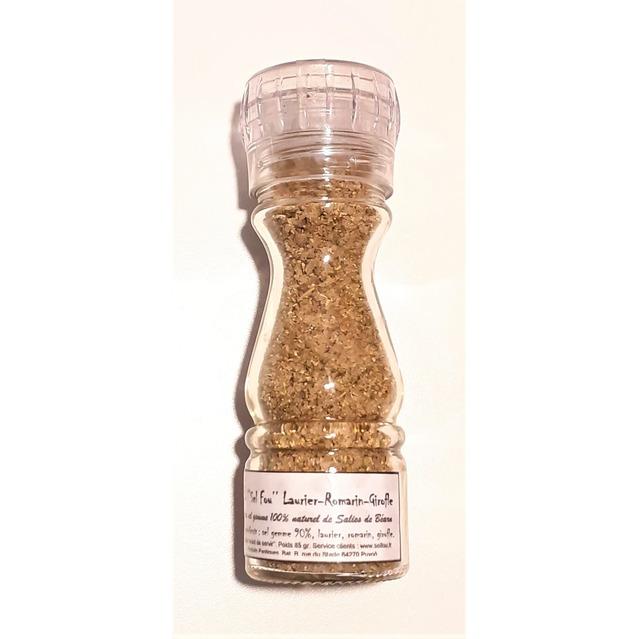 ''Sel fou'' Laurier- Romarin - Girofle © au gros sel gemme de source 100% naturel de Salies de Béarn, moulin en verre 85 gr.