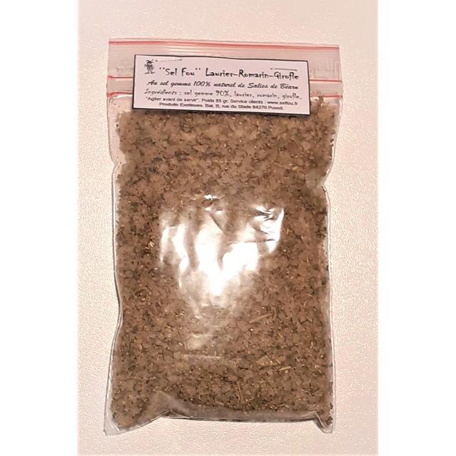 ''Sel fou'' Laurier - Romarin - Girofle © au gros sel gemme de source 100% naturel de Salies de Béarn, recharge 85 gr.