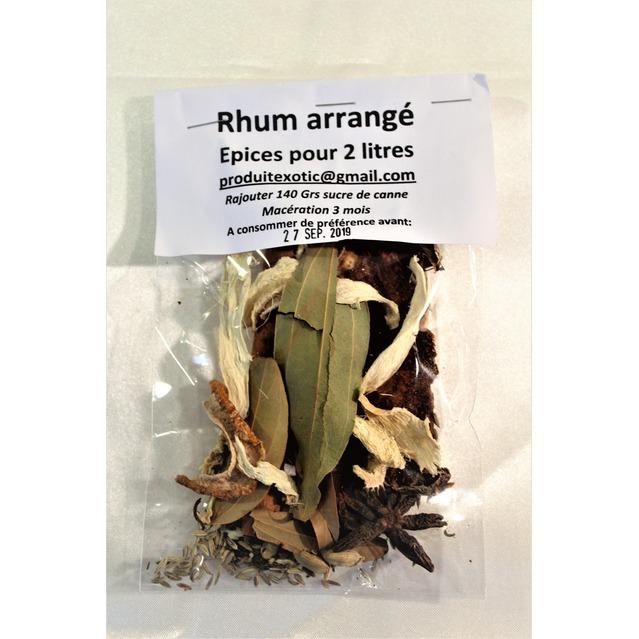 Rhum arrangé, préparation aux épices brutes pour 2 l, sachet sans sucre.