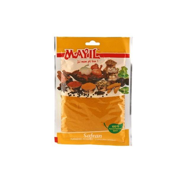 Safran jaune mauricien (Curcurma), sachet de 50 gr certifié ISO 9001.