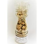 ''Sel fou'' Échalote-ciboulette-citron zest © au gros sel de source 100% naturel de Salies de Béarn , moulin en verre, 85 gr.