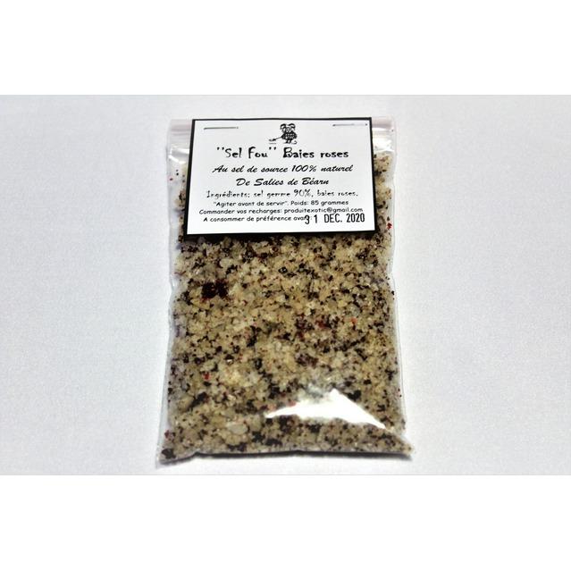 ''Sel fou'' Baies roses © au gros sel de source 100% naturel de Salies de Béarn , recharge 85 gr.