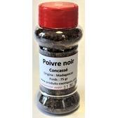 Poivre noir en grain concassé de Madagascar, poivrière PET 60 gr