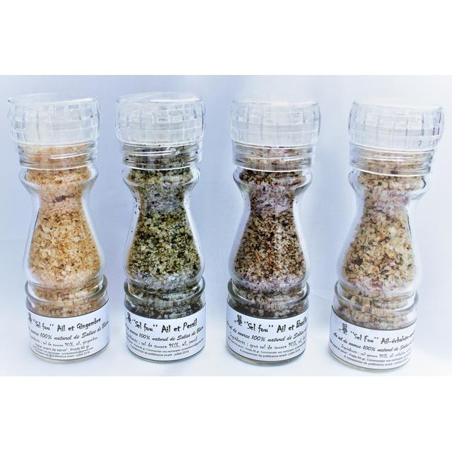 """Pack de 4 """"sels fou"""" spécial ail au gros sel de source 100% naturel de Salies de Béarn, moulin en verre, 85 gr."""