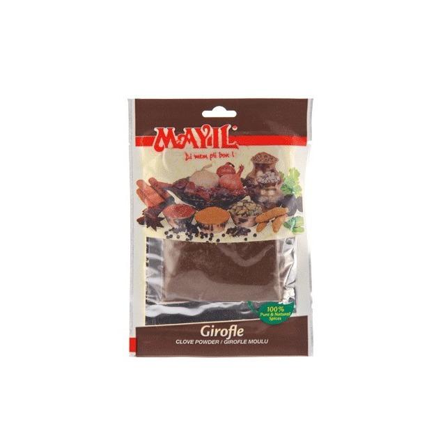 Clous de girofle moulus, Mayil, sachet de 50 grammes, 100% naturel, sans additif ni conservateur, certifié ISO 9001.