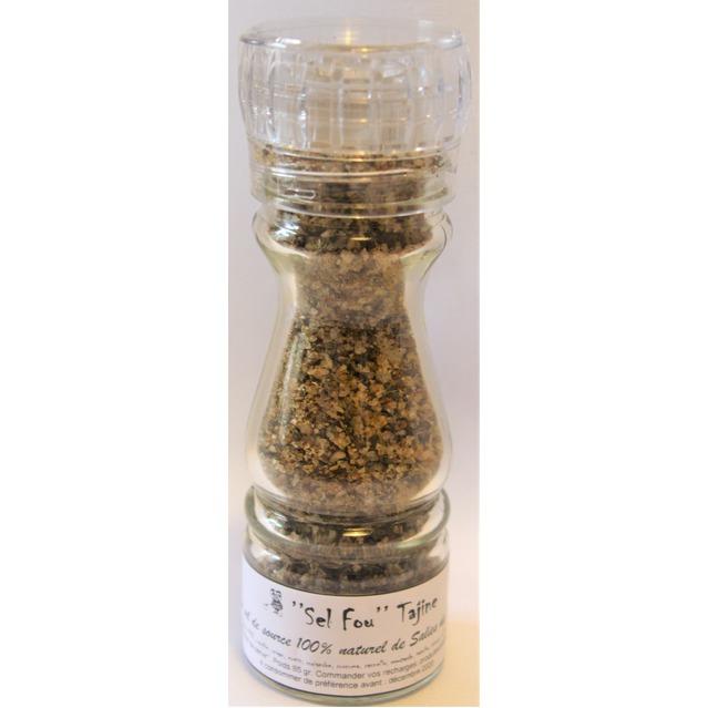 ''Sel fou'' Tajine © au gros sel de source 100% naturel de Salies de Béarn moulin en verre rechargeable, 85 grammes.