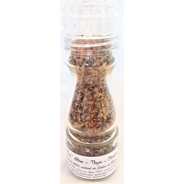 ''Sel fou'' Olive - Thym - Piment d'Espelette au gros sel de source 100% naturel de Salies de Béarn , moulin en verre rechargeab