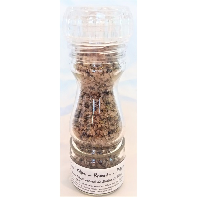 ''Sel fou'' Olive - Romarin - poivre © au gros sel de source 100% naturel , moulin en verre rechargeable 85 gr.