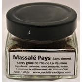 Massalé Pays(curry grillé) de la Réunion, sans piment, pot en verre de 50 gr