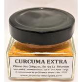 Curcuma Extra de la Réunion, (safran jaune) pot en verre 70 gr.
