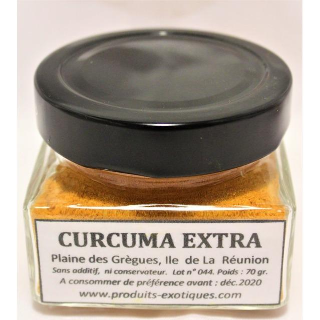 Curcuma Extra de la Réunion, safran jaune, qualité extra de la Plaine des Gregs, pot en verre 70 grammes.