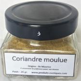 Coriandre graines moulues 35 gr dans pot en verre.