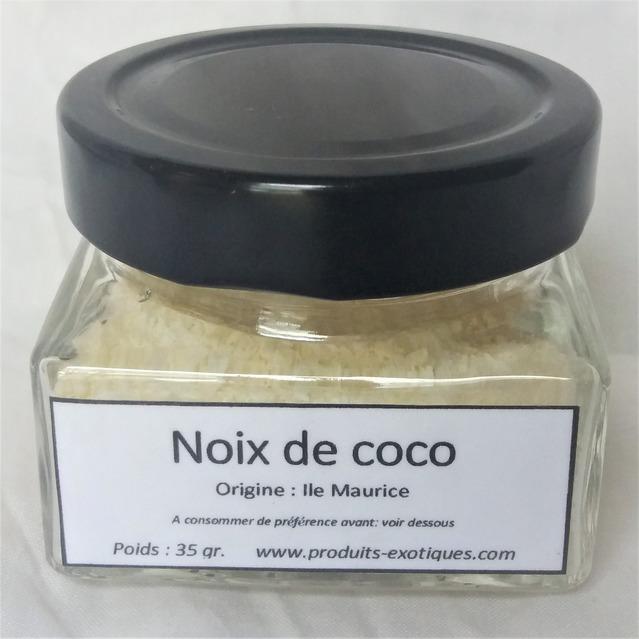 Noix de coco rapée, 35 gr dans pot en verre.