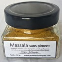 Massala SANS piments, 50 gr dans pot en verre.