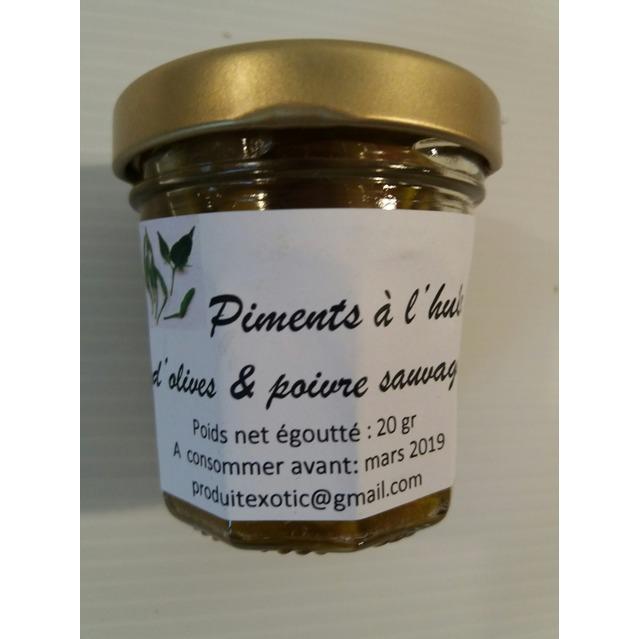 Piments vert confits à l'huile d'olive et poivre sauvage 20 gr