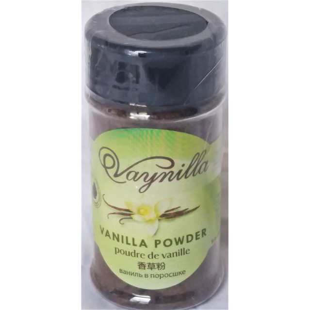 Poudre de Vanille Bourbon déshydratée 100 % pur et naturelle, saupoudreur de 25 gr (PET).