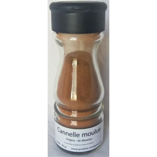 Cannelle moulue, 50 grammes dans saupoudreur en verre.