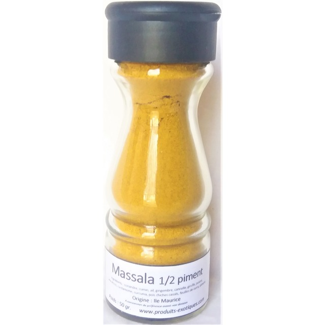 Massala Mild 1/2 piment, Mélange d'épices 50 gr dans saupoudreur en verre
