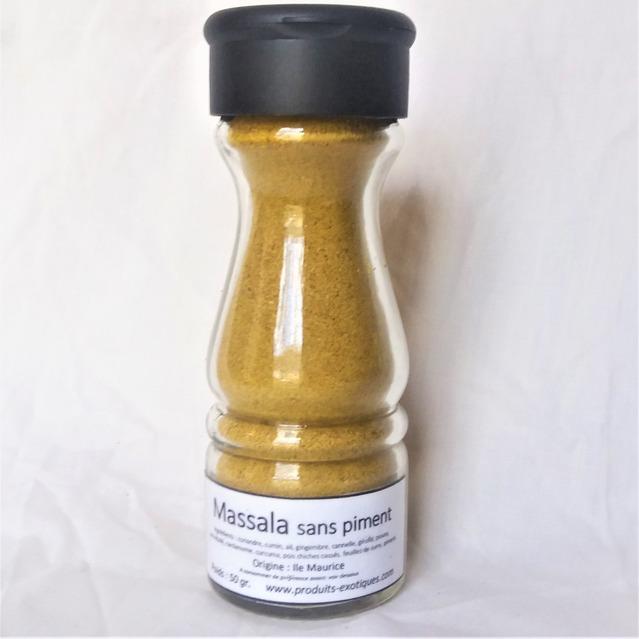 Massala SANS piments, 50 gr dans saupoudreur en verre.