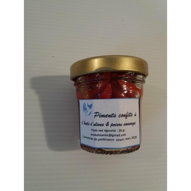 Piments rouge confits à l'huile d'olive et poivre sauvage 20 gr