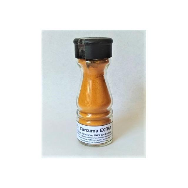 Curcuma Extra, Safran jaune mauricien, saupoudreur de 50 gr, 100% naturel, sans additif ni conservateur.
