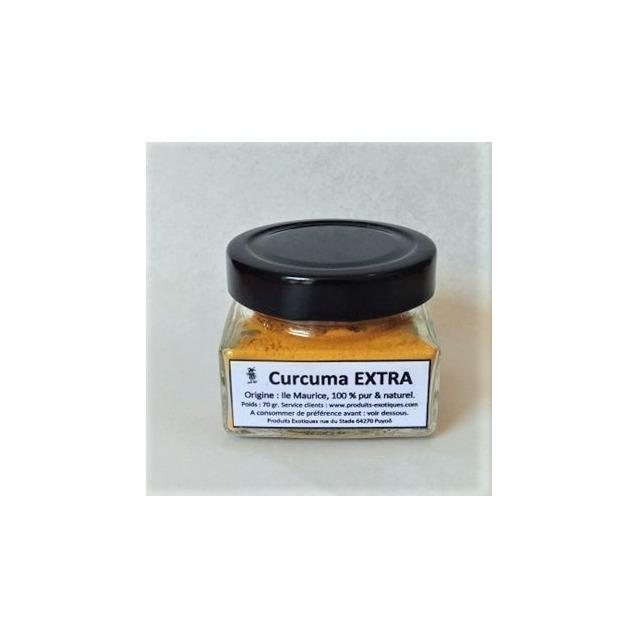 Curcuma Extra, Safran jaune mauricien, pot en verre de 70 gr