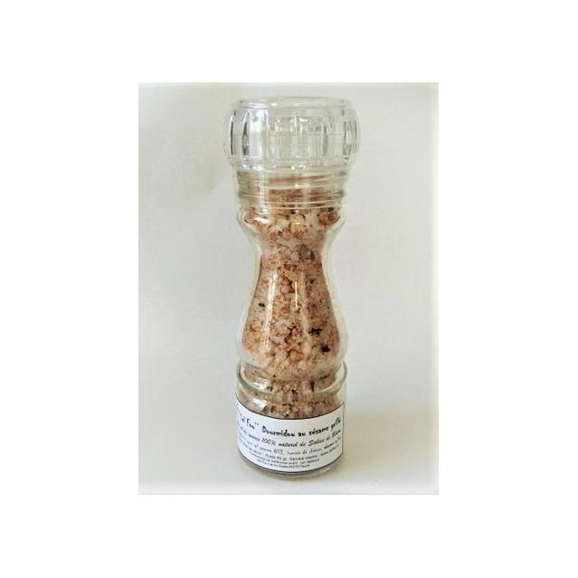 ''Sel fou'' Dourmidou au sésame grillé © au gros sel de source 100% naturel , moulin en verre rechargeable 85 gr.