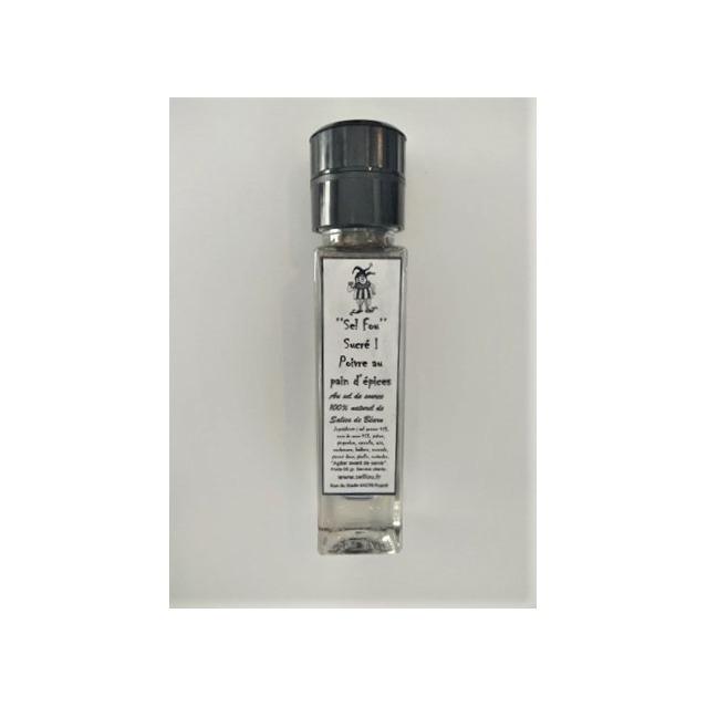 ''Sel fou'' Sucré poivre & pain d'épices © au gros sel de source 100% naturel de Salies de Béarn et sucre de canne, moulin en ve