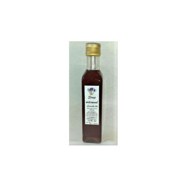 Sirop artisanal lavande bio, bouteille en verre 250 ml