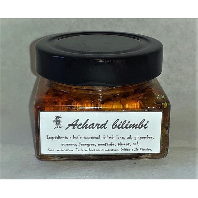 Achard de Bilimbi long, Mélange de Bilimbis longs séchés, d'huile et d'épices, pot en verre 130 gr.