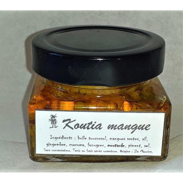Koutia mangue, Mélange de mangues vertes râpées, d'huile et d'épices moulu, pot en verre 120 gr,